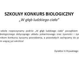 PLAKACIK SZKOLNY KONKURS BIOLOGICZNY